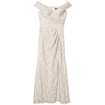 アレックスイブニングス レディース ワンピース トップス Long Off-the-Shoulder Fit-and-Flare Lace Dress