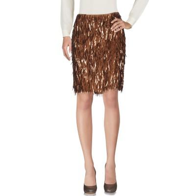 NICOLA LUCCARINI ひざ丈スカート ブラウン 42 シルク 100% / ガラス / ポリ塩化ビニル ひざ丈スカート