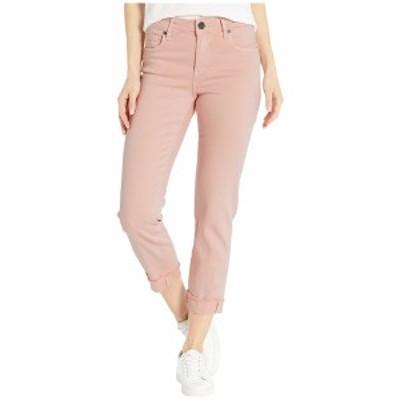 カットフロムザクロス レディース デニムパンツ ボトムス Amy Crop Straight Leg Roll Up Frey in Pink Pink