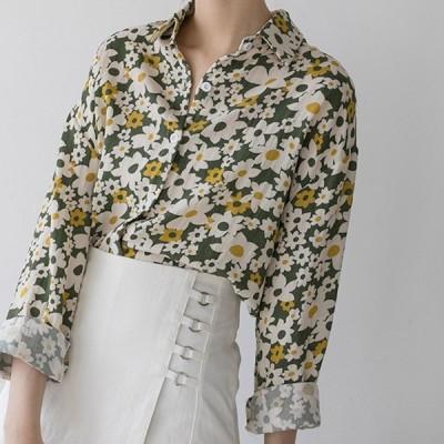 おすすめ 春物トレンド 人気 売れ筋 シャツ 長袖 花柄 Xシャツ ゆったり レトロ カジュアル デート kk1074