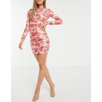 エイソス ASOS DESIGN レディース ワンピース ワンピース・ドレス ruched satin high neck strappy back mini dress in floral print マルチカラー