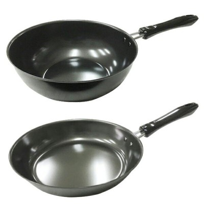 フライパン+炒め鍋(中華鍋)セット 鉄製 日本製/IHクッキング 200/23cm KS-2840・KS-2610