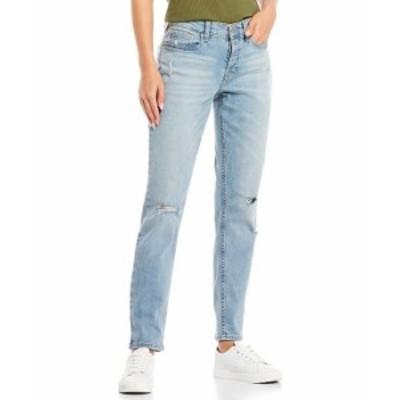 カルバンクライン レディース デニムパンツ ボトムス Mid-Rise Destruction Detail Slim Boyfriend Jeans Iris