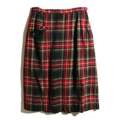 80's Vintage タータンチェック柄 ウールミディアム丈スカート【W27】