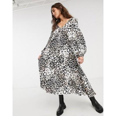エイソス レディース ワンピース トップス ASOS DESIGN textured midi V neck swing dress in animal print
