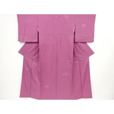 宗sou 椿・桜模様刺繍一つ紋付け下げ色無地着物【リサイクル】【着】