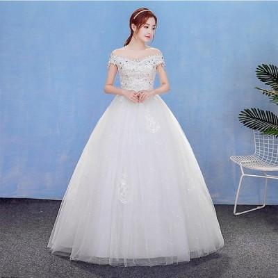 ウェディングドレス 安い 結婚式 花嫁 二次会 パーティードレス 長袖 透け 編上げ レースアップ Aライン ウエディングドレス ホワイト 大きいサイズ