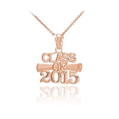 """10k ローズ ゴールド Diploma チャーム クラス of 2015 Graduation ペンダント ネックレス, 22""""(海外取寄せ品)"""