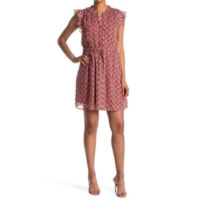 コレクティブコンセプツ レディース ワンピース トップス Floral Belted Flutter Sleeve Dress RED LUREX
