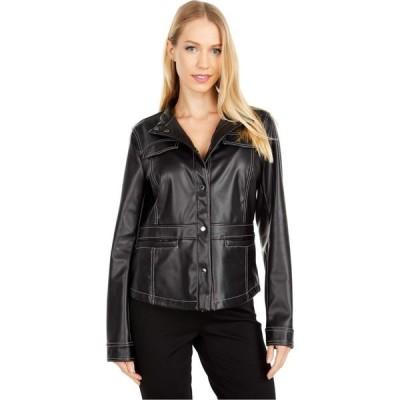 サム エデルマン Sam Edelman レディース レザージャケット アウター Faux Leather Snap Front Jacket Black