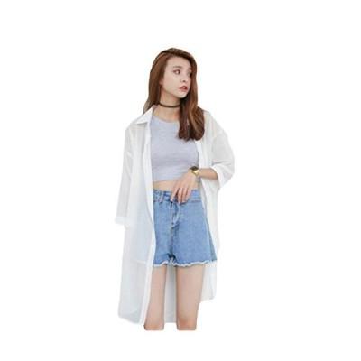 SUNNUY レディース サマーカーディガン シフォン 白 春夏 七分袖 大きいサイズ ゆったり 無地 カジュアル 折り襟