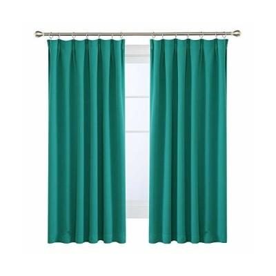 Deconovo 1級遮光カーテン 全16色 UVカット 断熱 節電対策 昼夜目隠し 2枚組 幅100cm丈200cm ブルーグリーン