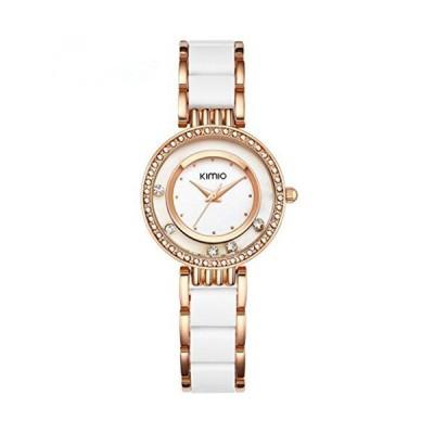 KIMIOレディース時計CeramicsドレスWatchesレディースLuckyダイヤモンドダイヤル腕時計ブレスレット女性ゴールド ゴールドホワイト