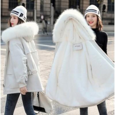 レディースコート 裏起毛コート ショートコート ゆったり 人気 アウター ファー付き ジャケット フード付き 厚手 防風 通勤 通学 暖かい