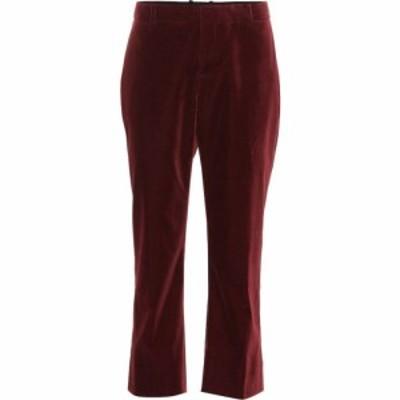イヴ サンローラン Saint Laurent レディース クロップド ボトムス・パンツ Cropped velvet pants Bordeaux