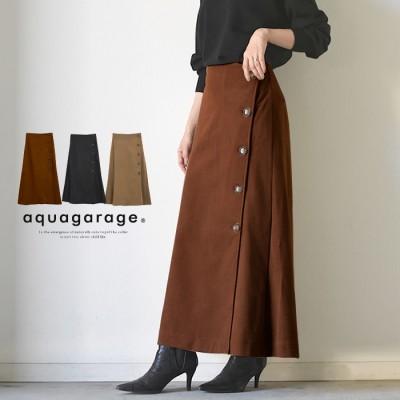 aquagarage スカート フレアスカート レディース M L 秋 冬 Aラインスカート ラップ風スカート ベージュ L レディース