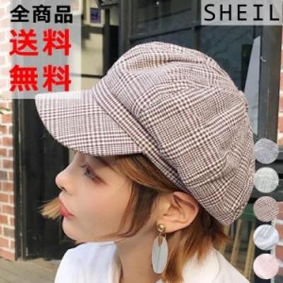 【全品 送料無料】キャスケット帽 レディース 帽子 チェック キャップ グレンチェック