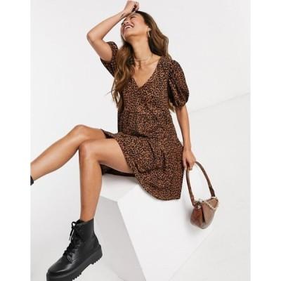 ストラディバリウス レディース ワンピース トップス Stradivarius v-neck animal print smock dress in brown