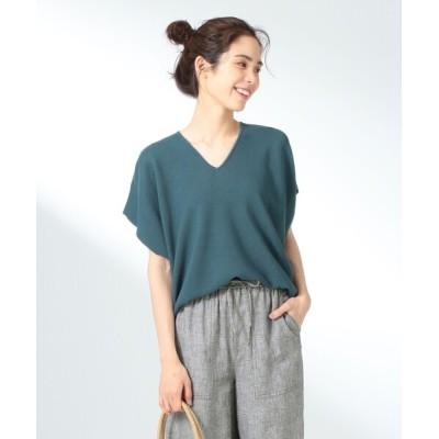 any FAM / 【洗える】ウォッシャブルガーターVネックニットTシャツ WOMEN トップス > ニット/セーター