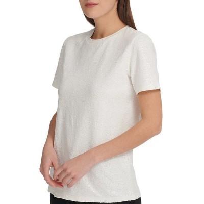 ダナ キャラン ニューヨーク レディース Tシャツ トップス Sequined Knit Jersey Crew Neck Short Sleeve Top White