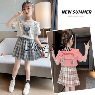 子供服 セットアップ キッズ 女の子 夏 2点セット 上下セット Tシャツ 半袖 スカート ジュニア 可愛い カジュアル 新品