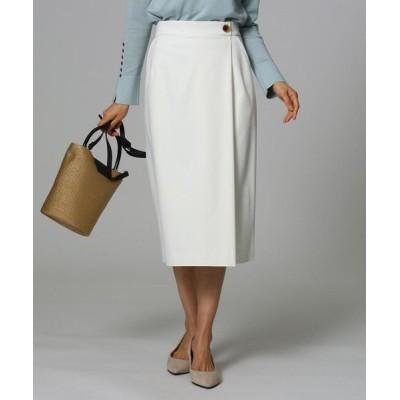 UNTITLED/アンタイトル 【洗える】モダールストレッチサテンラップ風スカート オフホワイト(003) 01(S)