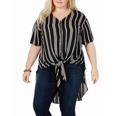 レディース 衣類 トップス Womens Blouse Plus Striped Button Down 1X ブラウス&シャツ