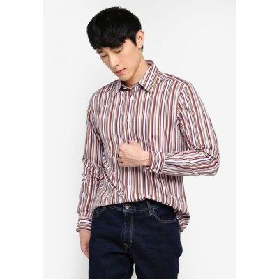 ゲイジアーノ Gay Giano メンズ シャツ トップス Slim Fit Multi-Color Pinstripe Spread Collar Dress Shirt Orange