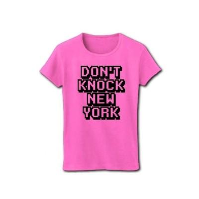 DON'T KNOCK NEW YORK リブクルーネックTシャツ(ピンク)
