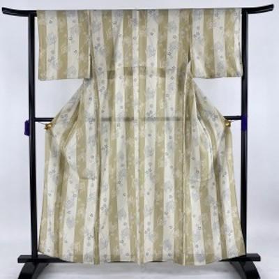 小紋 美品 逸品 絽 若松 桜 灰緑 薄物 身丈159cm 裄丈62cm S 正絹 中古