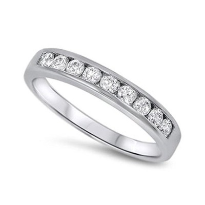 Clear CZ Polished Stacking Ring New .925 Sterling Silver Thumb Band Si
