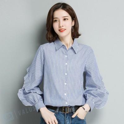 ブラウス シャツ レディース チュニックシャツ ロングシャツ 無地 長袖 ホワイト 白 ロング丈 ロールアップ 大きいサイズ 体型カバー