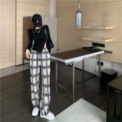 セットアップ トップス スリット  パンツ チェック 美脚 脚長 着回し シンプル ゆったり カジュアル  韓国ファッション 大人可愛い