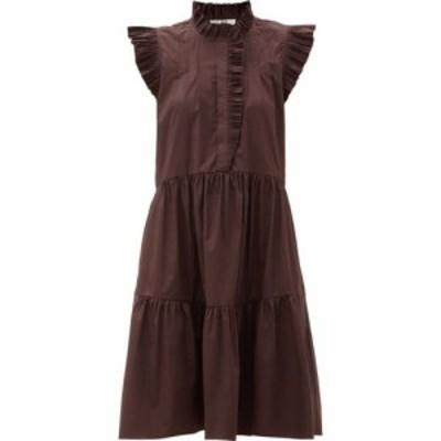 シー Sea レディース ワンピース ワンピース・ドレス Karla ruffled cotton-blend dress Burgundy