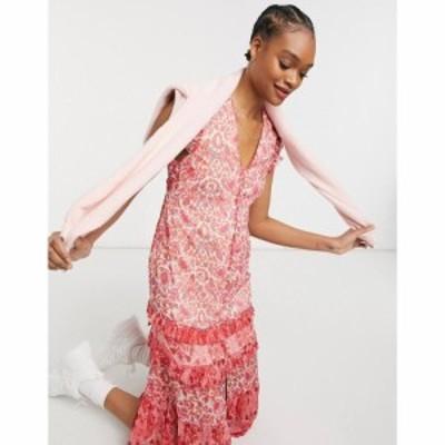 ホープ&アイビー Hope and Ivy レディース ワンピース ミドル丈 ワンピース・ドレス ruffle sleeve midi dress in mixed print マルチカ