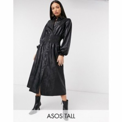 エイソス ASOS Tall レディース ワンピース シャツワンピース Asos Design Tall Leather Look Midi Shirt Dress With Shirred Waist ブラ