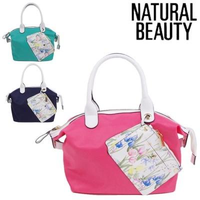 NATURAL BEAUTY バッグ トートバッグ レディース リタトート ファスナー ピンク/グリーン/ネイビー 71110 ナチュラル