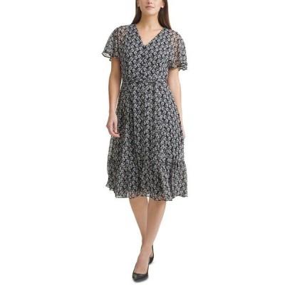 カルバンクライン ワンピース トップス レディース Floral-Print Chiffon Belted Midi Dress Black/Cream