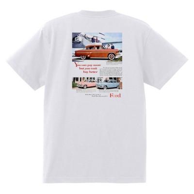 アドバタイジング フォード Tシャツ 白 1009 黒地へ変更可 1954 サンライナー スカイライナー ランチワゴン ビクトリア オールディーズ