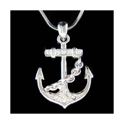 ネックレス インポート スワロフスキ クリスタル ジュエリー ANCHOR made with Swarovski Crystal Nautical YACHT CLUB Marine Boat Necklace Gift