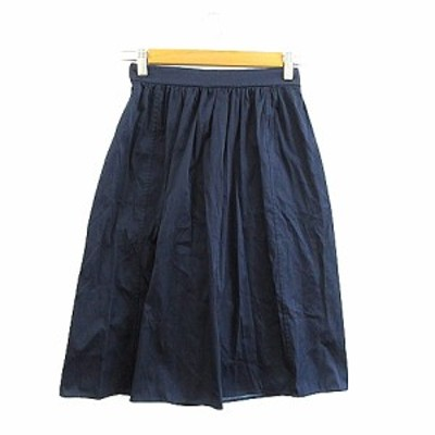 【中古】シップス SHIPS スカート ギャザー ひざ丈 紺 ネイビー /AAM34 レディース