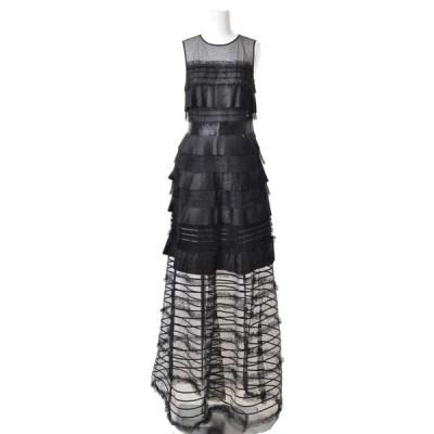 ELISABETTA FRANCHI ミックスパーツ ギャザー ドレス 42 ブラック エリザベッタ フランキ