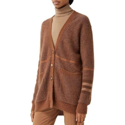 バーバリー BURBERRY レディース カーディガン トップス Shannon Wool, Mohair & Silk Blend Cardigan Chestnut