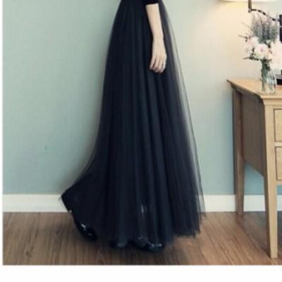 チュールスカート 大きい チュールスカート ハイウェストスカート ミモレ丈 大きいサイズ ゆったり 透け感 春夏 アプリコット 白 ブラウ