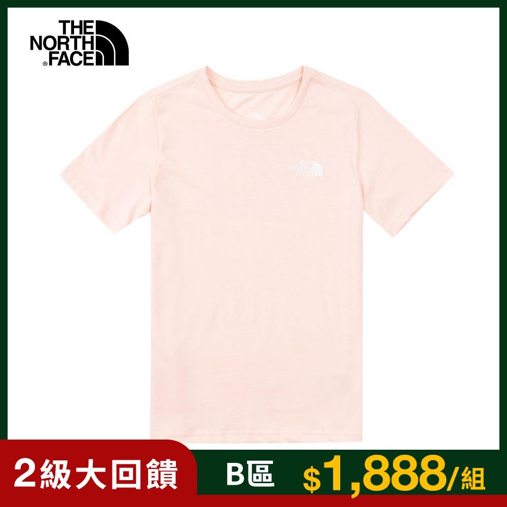 The North Face北面兒童粉色背部大LOGO印花短袖T恤|4UC3WC6
