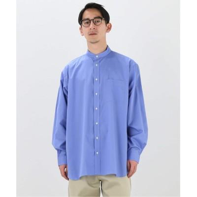 メンズ エディフィス 【INDIVIDUALIZED SHIRTS】オーバーサイズ スタンドカラーシャツ ソリッド ブルー A フリー
