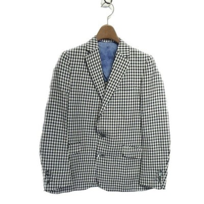 【10月19日値下】Drawer リネンコットンギンガムテーラードジャケット ホワイト×ブラック サイズ:36 (栄店)