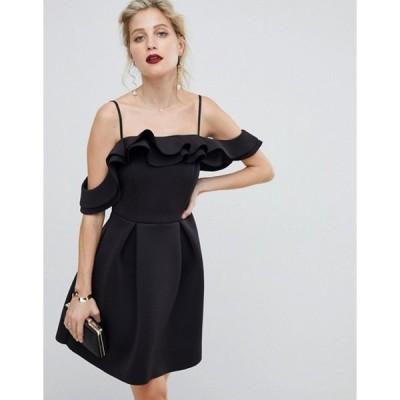 エイソス レディース ワンピース トップス ASOS DESIGN Strappy Ruffle Scuba Prom Mini Dress