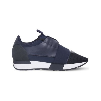 バレンシアガ BALENCIAGA レディース スニーカー シューズ・靴 Race Runners mesh, leather and knitted low-top trainers NAVY