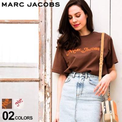 マーク ジェイコブス レディース Tシャツ 半袖 MARC JACOBS ロゴ ビーズ 刺繍 プリント NEW YORK 白 茶色 ブランド プリントT ロゴT バックプリント MJLC600039